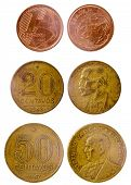 picture of brazilian money  - three different old brazilian coins isolated on white background - JPG