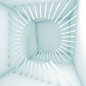pic of helix  - Abstract white empty room interior with decoration helix structure - JPG