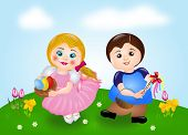foto of easter lily  - Illustration of small girl and boy on easter lilies - JPG