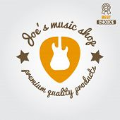 Vintage logo, badge, emblem or logotype elements for music shop, guitar shop poster