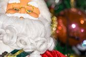 picture of accordion  - Christmas santa toy playing the accordion holiday background - JPG