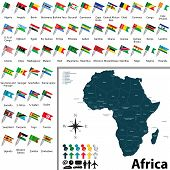 picture of political map  - Vector of political map of Africa set with maps and flags on white background - JPG