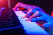 foto of soffit  - hands of musician playing keyboard in concert with shallow depth of field - JPG