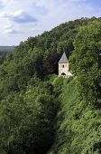 stock photo of bohemia  - Karlstejn castle in the mountains of Central Bohemia Czech Republic - JPG