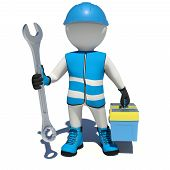 picture of shoe-box  - Worker in vest - JPG