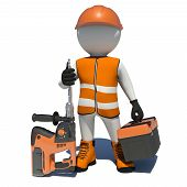 stock photo of shoe-box  - Worker in vest - JPG