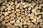 pic of firewood  - Pile of prepared firewood somewhere in the country - JPG
