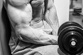 pic of dumbbell  - Strong and muscular guy with dumbbell - JPG