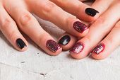 Постер, плакат: Beautiful female hands with nails painted nails