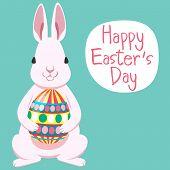 foto of white rabbit  - White Happy Easter - JPG