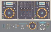 picture of mixer  - Illustration of dj mixing decks and elements including knobs headphonesfaderscrossfaderplay and cue buttonspitch and dj mixer - JPG