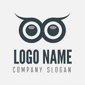 stock photo of owl eyes  - Logo or logotype element with owl for business - JPG