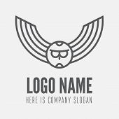 Logo, label, badge, emblem or logotype element with owl for business, corporation or web poster