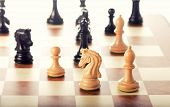 stock photo of chess piece  - Chess pieces setup before the game  - JPG