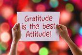 image of gratitude  - Gratitude is the Best Attitude card with bokeh background - JPG