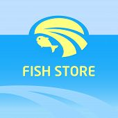 image of fresh water fish  - Vector logo and background with the image of water - JPG