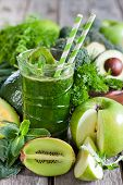 stock photo of fruits vegetables  - Green detox smoothie with raw vegetables and fruits - JPG