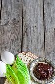 picture of passover  - Egg bitter salad leaves matzot and haroset  - JPG