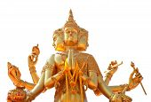 stock photo of brahma  - Golden statue of Brahma isolated on white background  - JPG