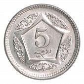 stock photo of pakistani  - 5 Pakistani rupees on a white background - JPG
