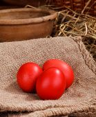 image of bird egg  - three red easter eggs at home backgraund - JPG