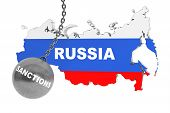 image of stress-ball  - Sanctions Destroy Russia Concept - JPG