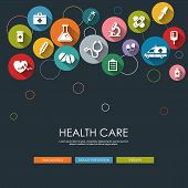 stock photo of medical  - Background with vector Medical Icons in flat style with long shadows - JPG