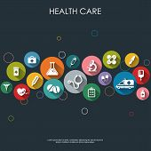 picture of medical  - Background with vector Medical Icons in flat style with long shadows - JPG