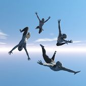 picture of sky diving  - Four men with much enthusiasm in free fall - JPG