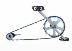 picture of pedal  - Bicycle chain with pedals front view isolated on white background - JPG