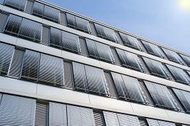 stock photo of louvers  - Facade of modern high - JPG