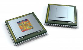 picture of cpu  - two CPUs on white background one cpu is without the cover and the circuits are visible  - JPG