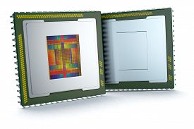 stock photo of cpu  - two CPUs on white background one cpu is without the cover and the circuits are visible  - JPG