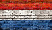 ������, ������: Grunge Flag Of Netherlands On A Brick Wall