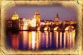 picture of bridges  - View of the Lesser Bridge Tower of Charles Bridge in Prague  - JPG