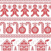 picture of ginger bread  - Scandinavian Nordic seamless pattern with ginger bread man - JPG