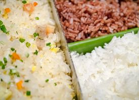foto of rice  - Variety of rice fried rice brown rice and white rice - JPG