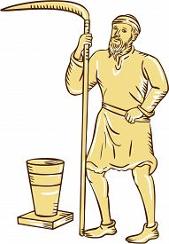 pic of scythe  - Etching engraving handmade style illustration of a medieval farmer farm worker holding scythe standing facing front with pot bucket pail set on isolated white background - JPG
