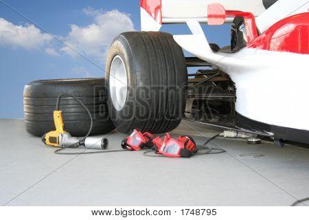 Постер, плакат: Формула 1 Пит Стоп команда инструменты, холст на подрамнике