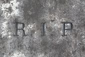 RIP. Rest in peace. Traditional inscription on the grave.  poster