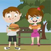 Постер, плакат: дети едят фаст фуд