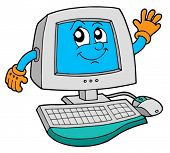 stock photo of computer-screen  - Cute computer on white background  - JPG