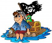 picture of flatboat  - Cartoon pirate sailing on raft  - JPG