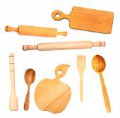 image of kitchen utensils  - Set of wooden kitchen utensils isolated on white - JPG