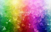 Abstract Low Poly Triangles Background. Futuristic Pattern. Red, Blue, Yellow, Green. Light To Dark, poster