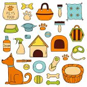 Vector Hand Drawn Dog Stuff Icons poster