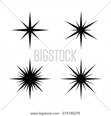 Set Of Sparkles Star, Sparkles Star Isolated Vector  Sparkle Light   Sparkling Stars  Sparkles Black poster