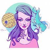 Girl Symbolizes The Zodiac Sign Pisces. Pastel Goth Portrait. poster