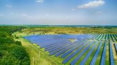 Solar Panels In Aerial View. Solar Power Plant In The Field. Solar Farm. The Source Of Ecological Re poster