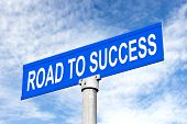 stock photo of inference  - A Street sign with road to success for use in any success inference - JPG